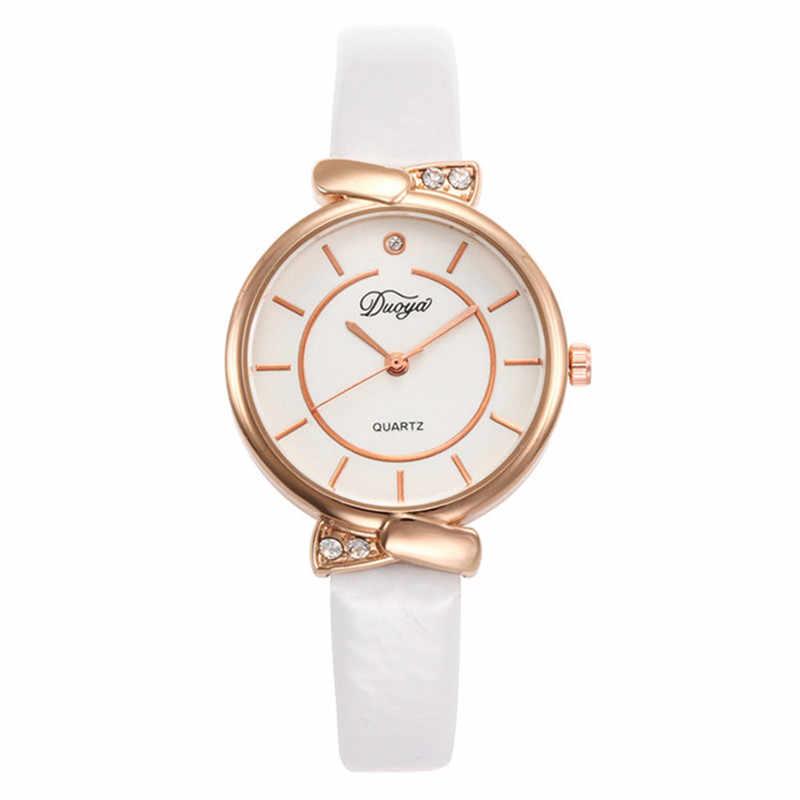 Duoya מותג נשים שעוני צמיד שעונים גבירותיי מקרית שיק עור רצועה צרה מעוגל אלגנטי מלאכותי יהלומי שעון אנלוגי