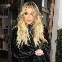 WoWEbony Khloe Kardashian Ombre Blonde Color Deep Part Chinese Virgin Hair Lace Front Wigs [IR4.5DPOM1]