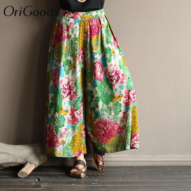 OriGoods   Wide     leg     Pants   Skirt Women Flower Print Summer   Pants   Cotton Cute Casual   Wide     leg   Trousers for Women 2019 New   Pant   A432