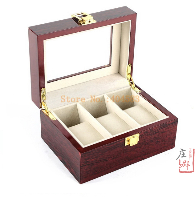 Free shipping 3 slot glossy mahogany wood rectangle watch box for