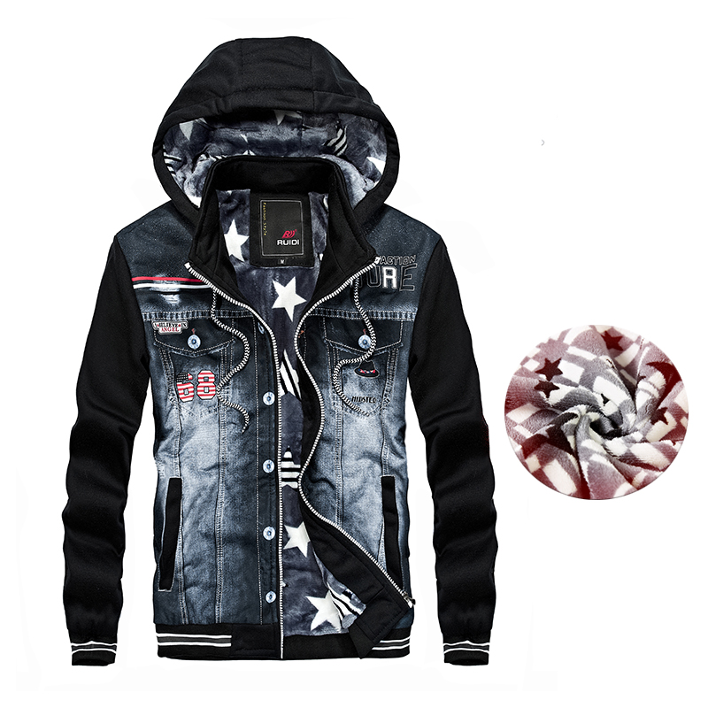 2018 New Brand Mens Winter Denim Warm Jacket Men Cool Fashion Design Man Jacket Hooded Streetwear Coat For Men Thick Fur Clothes