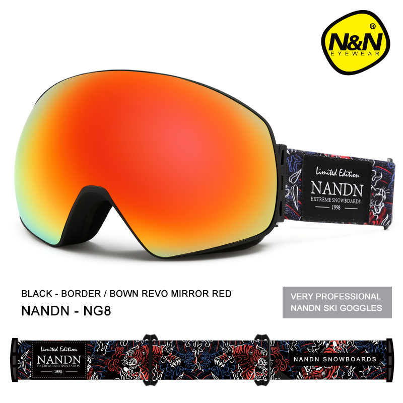 NANDN New ski goggles double layers UV400 anti-fog big ski mask glasses skiing men women snow snowboard goggles pelliot brand ski goggles double layers