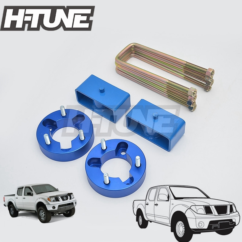 H-TUNE 4x4 Suspension Block Lift Kits Raise 2.5 Front + 2 Rear for NAVARA D40 05-14 h tune 4x4 accesorios 32mm front spacer and rear extended 2 inch g shackles lift up kits 4wd for triton l200 mk ml 06 14