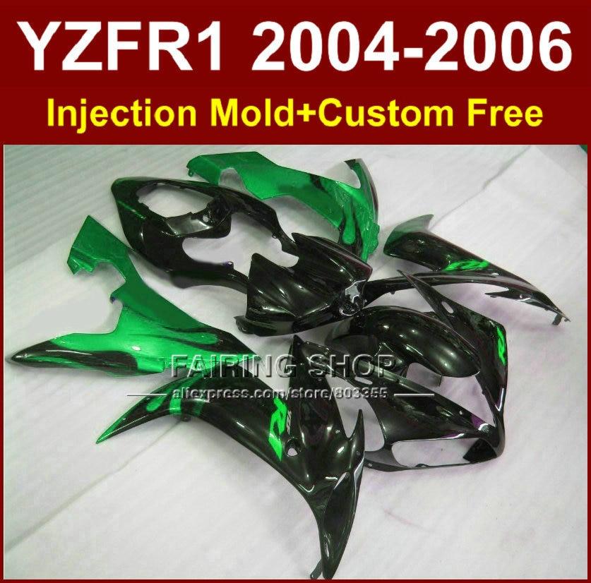 Custom free Injection ABS fairings kits for YAMAHA R1 2004 2005 2006 YZFR1 04 05 06 YZF1000 black green motorcycle fairing parts 3pcs 04 05 06 motorcycle new black gold full set front rear brake discs rotors for yamaha yzf r1 1000 2004 2005 2006