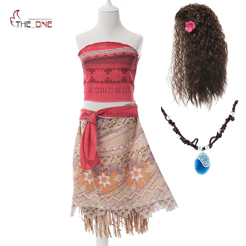 все цены на MUABABY Girls Moana Costume Kids Princess Advanture Halloween Cosplay Outfit Children Summer Birthday Party Dress Up Clothing