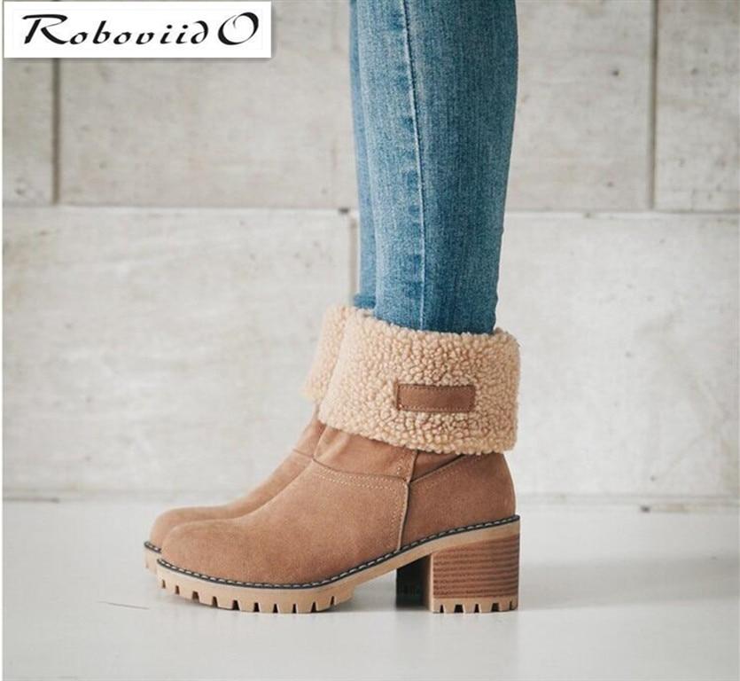 Roboviido New Women Boots Winter outdoor keep Warm Fur
