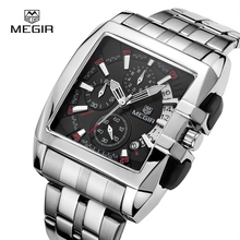 Megir Stainless Steel Square Quartz Watch Men Chronograph Military Sports Watches Luminous Watch Top Brand Luxury Male Clock