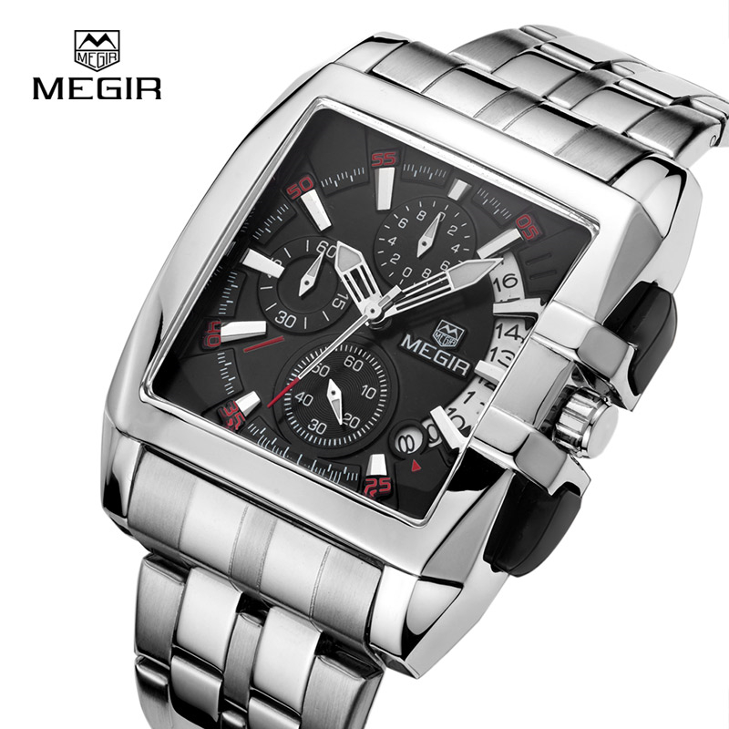 Megir Stainless Steel Square Quartz Watch Men Chronograph Military Sports Watches Luminous Watch Top Brand Luxury