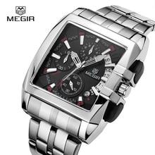 Megir acier inoxydable carré quartz montre hommes chronographe militaire sport montres lumineux montre top marque de luxe homme horloge