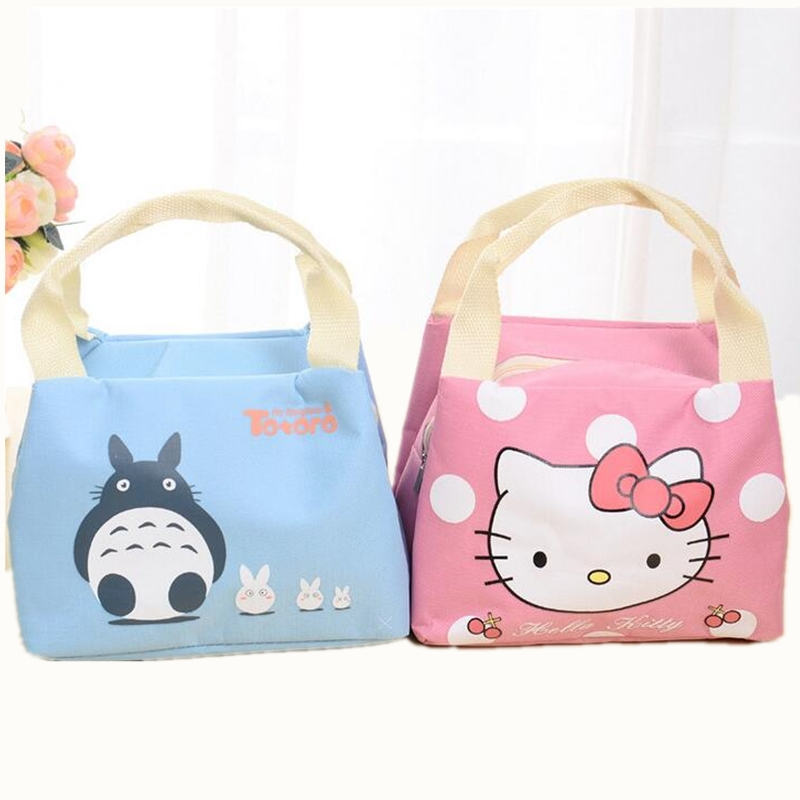 Waterproof Cartoon Cute Thermal  Lunch Bags Wome Lnsulated Cooler Carry Storage Picnic Bag Pouch for Student Kids 20l extra large camouflage cooler bags thermal insulated picnic bag box travel picnic food storage accessories supplies products