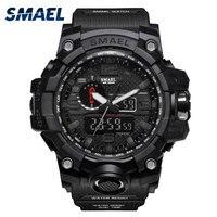 SMAEL LED Sport Watch Men Waterproof S Shock Dual Time Wristwatch Mens Watches Top Brand Luxury