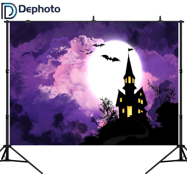DePhoto Photography Backdrops Castle Bat Halloween Magic Children Party Photocall Baby Backgrounds for Photo Studio
