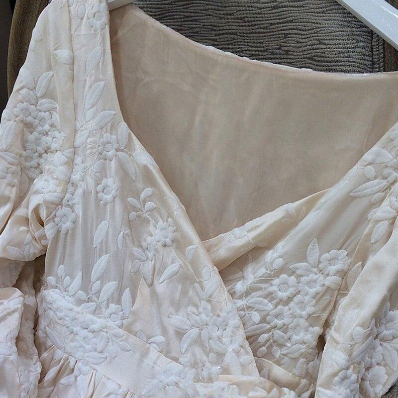 Robe femme longue chemise de nuit broderie peignoir pour dames princesse maison vêtements vêtements de nuit féminins salons Homewear de haute qualité - 5