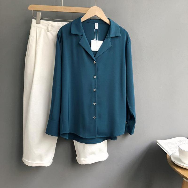 ZuoLunOuBa 2019 Autumn New Korean Solid Color Women Blouses Casual Harajuku Loose Long Sleeve Women Tops Blouses