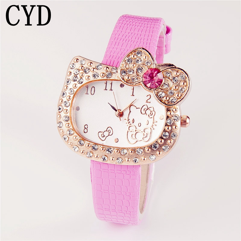 2017 New Hello Kitty Quartz Rhinestone Watch Women Luxury Fashion Lady Girl Cute Leather Wristwatch Saat Relogio Masculino fashion brand hello kitty quartz watch children girl women leather crystal wrist watch kids wristwatch cut lovely clock e3570