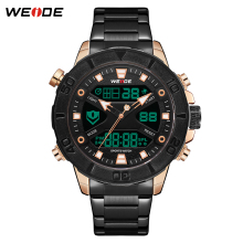 WEIDE Luxury Brand Quartz Digital Complete Calendar Stainless Steel Strap Chronograph Luminous Water Resistant Men Wrist watch luxury leather gift box pacific angel shark sport watch 24hrs chronograph luminous steel water resistant men watches sh315 319