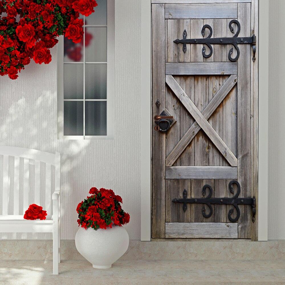 Inteligentny Średniowiecze Drewniane drzwi Wysokiej jakości naklejki ścienne VF92