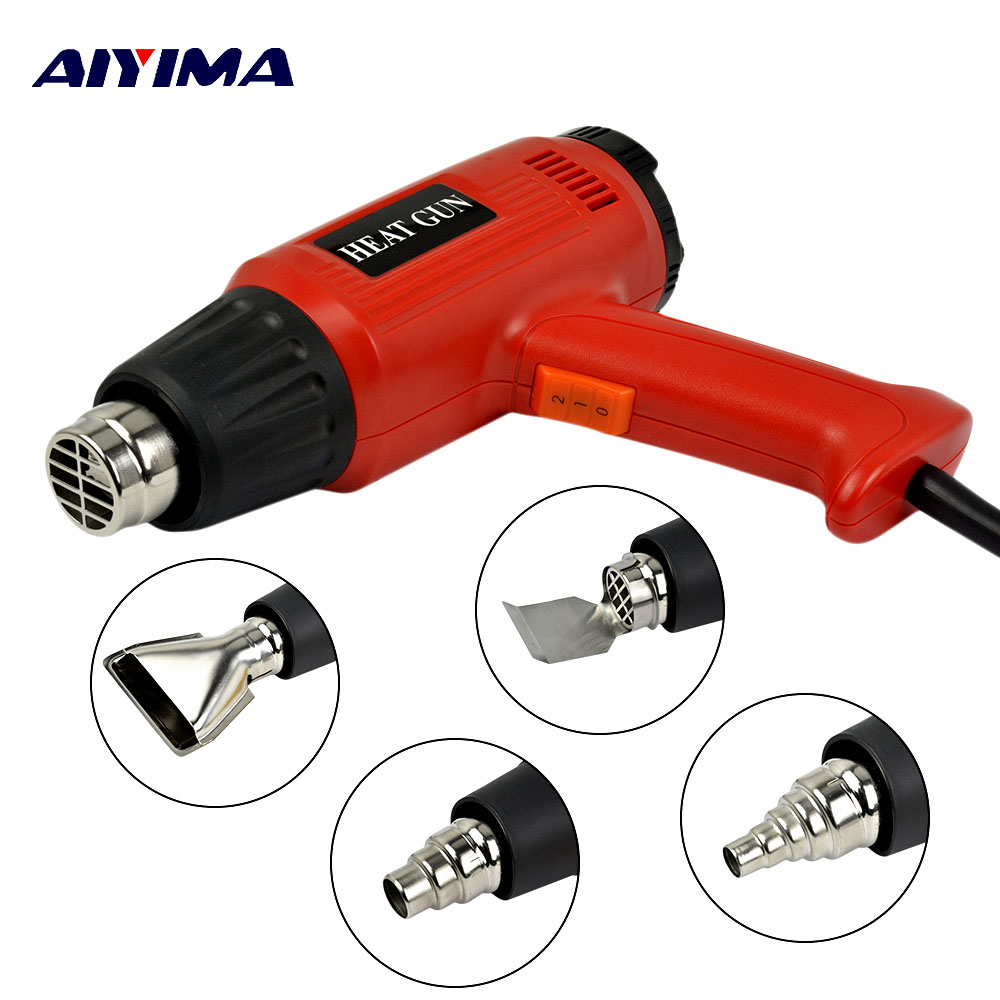 Aiyima 2000W 220V EU Temperature Wind Speed Adjustable Heat Gun LCD Thermoregulator Hot Air Gun Kit+Colorful Hoses+4 Nozzles heat gun 2000w 220v temperature adjustable temperature industrial electric hot air gun