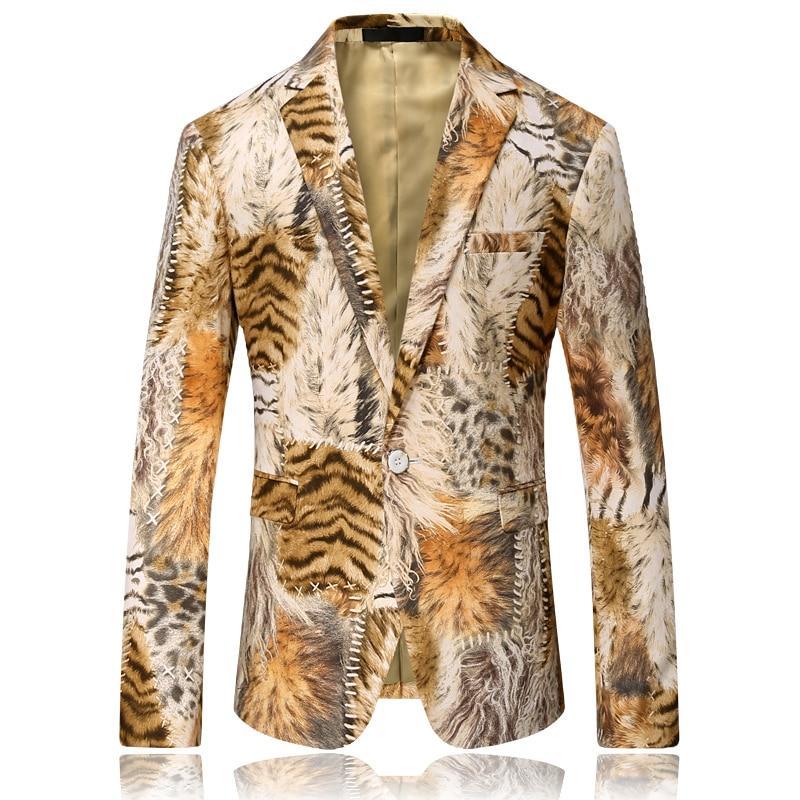 Tiger imprimer blazer hommes slim fit motif imprimer costume veste hommes de bal blazers pour hommes unique designer casual blazer hommes 4xl