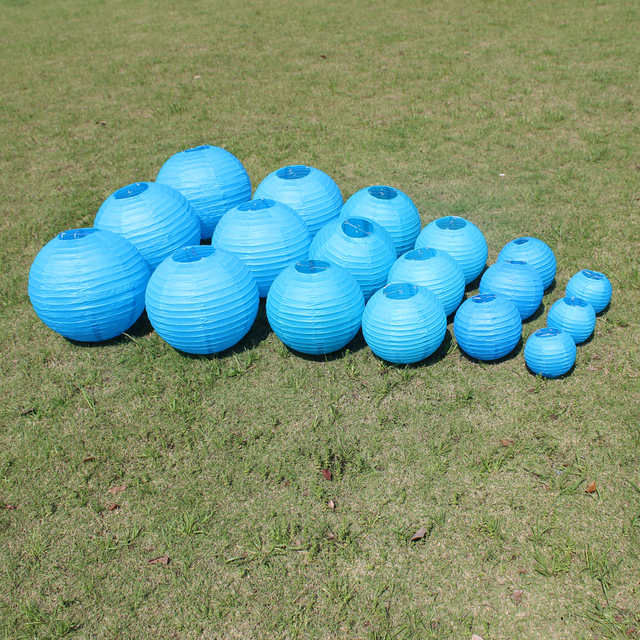 10 Pieces 6-8-10-12-14-16 Inch Beautiful Blue Chinese Paper Lanterns For Party and Wedding Decoration Hang Paper Ball