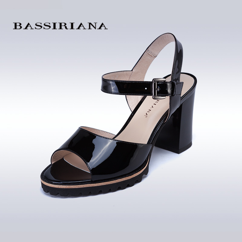 ФОТО High heels sandals women 2017 BASSIRIANA Casual Square heel Genuine patent leather Black shoes Free shipping