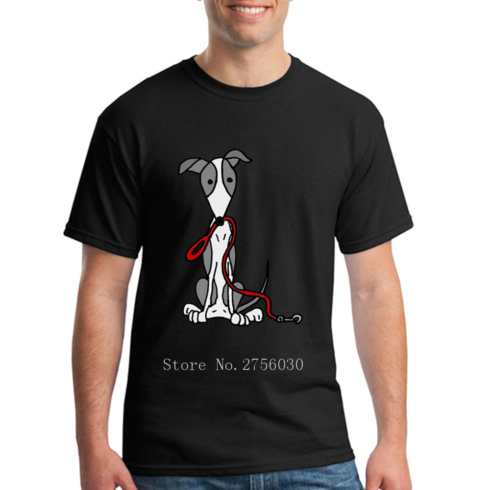 Greyhound Dog With Red Leash t Shirt Short Sleeve 2018 New Pop Casual Tees Shirts Round Neck XXXL T-Shirt