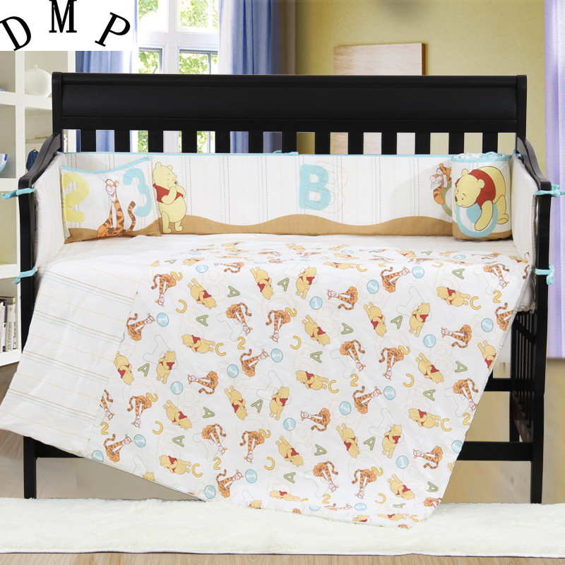 7PCS embroidered Baby crib bedding set 100% cotton crib bumper baby sheets ,include(bumper+duvet+sheet+pillow)