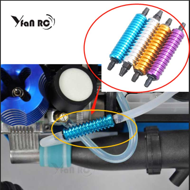 Yfan Alloy Aluminum Nitro exhaust gas/fuel/back pressure cooler 1/10 1/8 RC Nitro Hobby Model Car Upgraded Hop-up rc Parts HSP