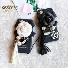 KISSCASE Девчушки Case Для iPhone 7 Case Роскошный Цветок Жемчужный Кулон ультра Тонкий Жесткий PC Phone Задняя Крышка Для iPhone 7 Plus Coque