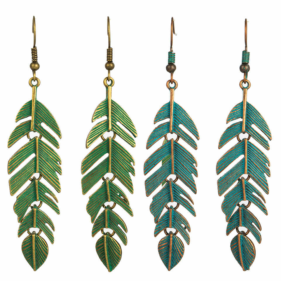 2018 Retro green leaf tassel eardrop earring jewelry Vintage ethnic boho bohemian leaves hanging dangle drop earrings for women