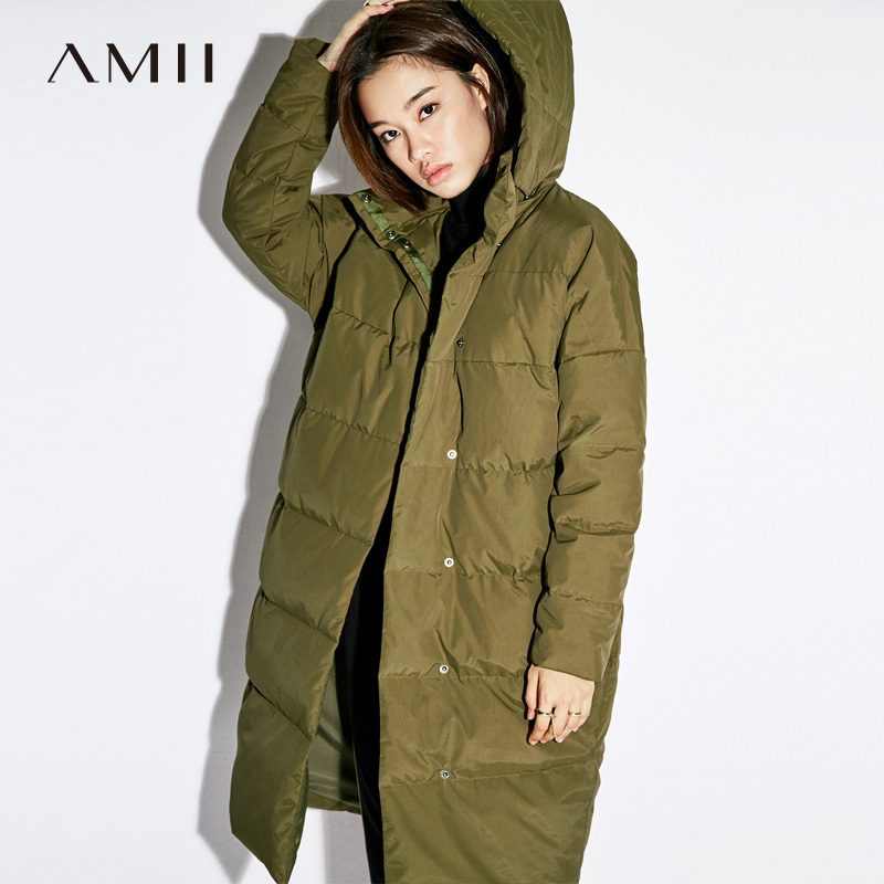 Amii Women 2018 Winter 90% White Duck Down Coat Covered Button Hoodies Female Fashion Light Jacket Coats