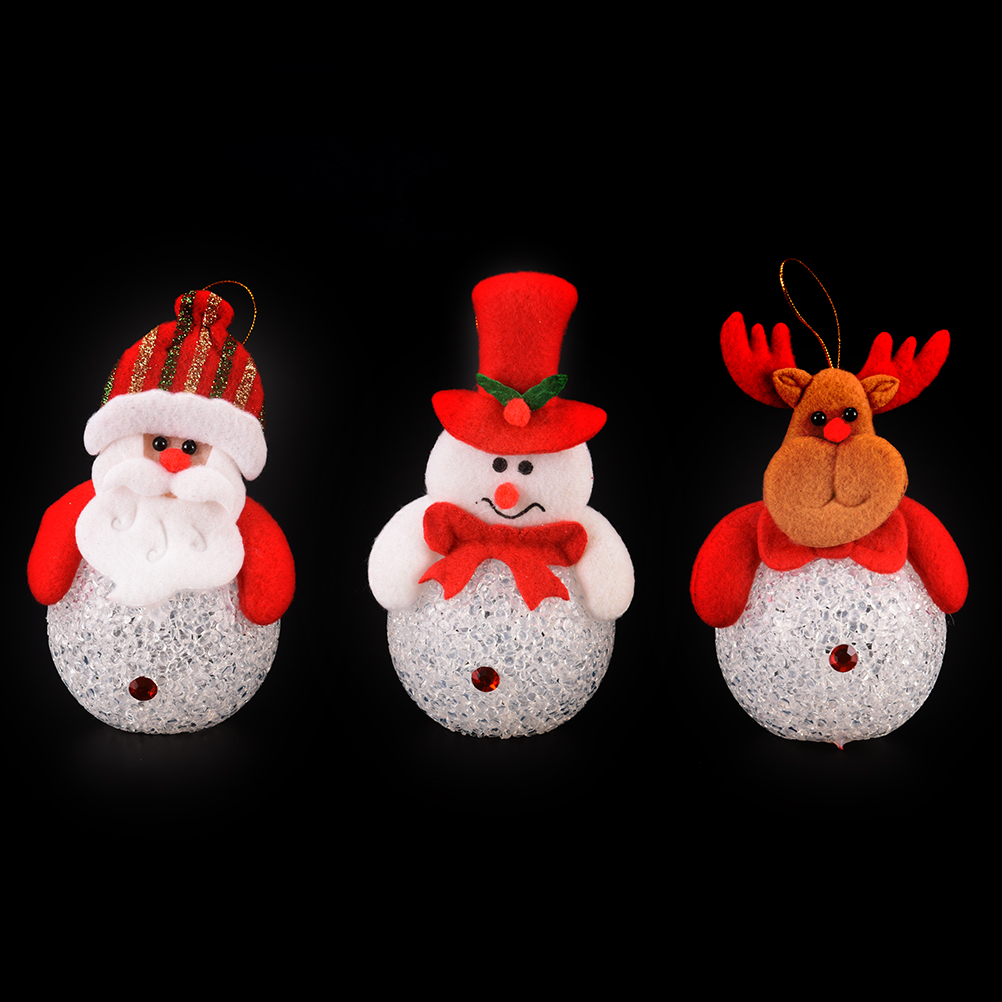 1 Pc Kids Cute Novelty Light Up LED Santa Claus Snowman Elk Bear Nightlight Toys Christmas Decoration Doll Pedant Gifts