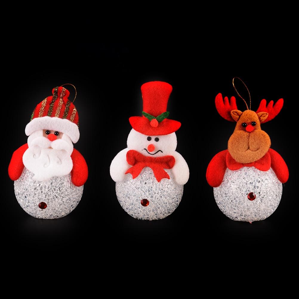 1 Pc Kids Cute Novelty Light Up LED Santa Claus Snowman Elk Bear Nightlight Toys Christmas Decoration Doll Pedant Gifts