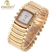 2016 высокое качество женщины rhinestone часы montre femme де марка Кварцевые часы дамы золотой браслет часы relogio feminino