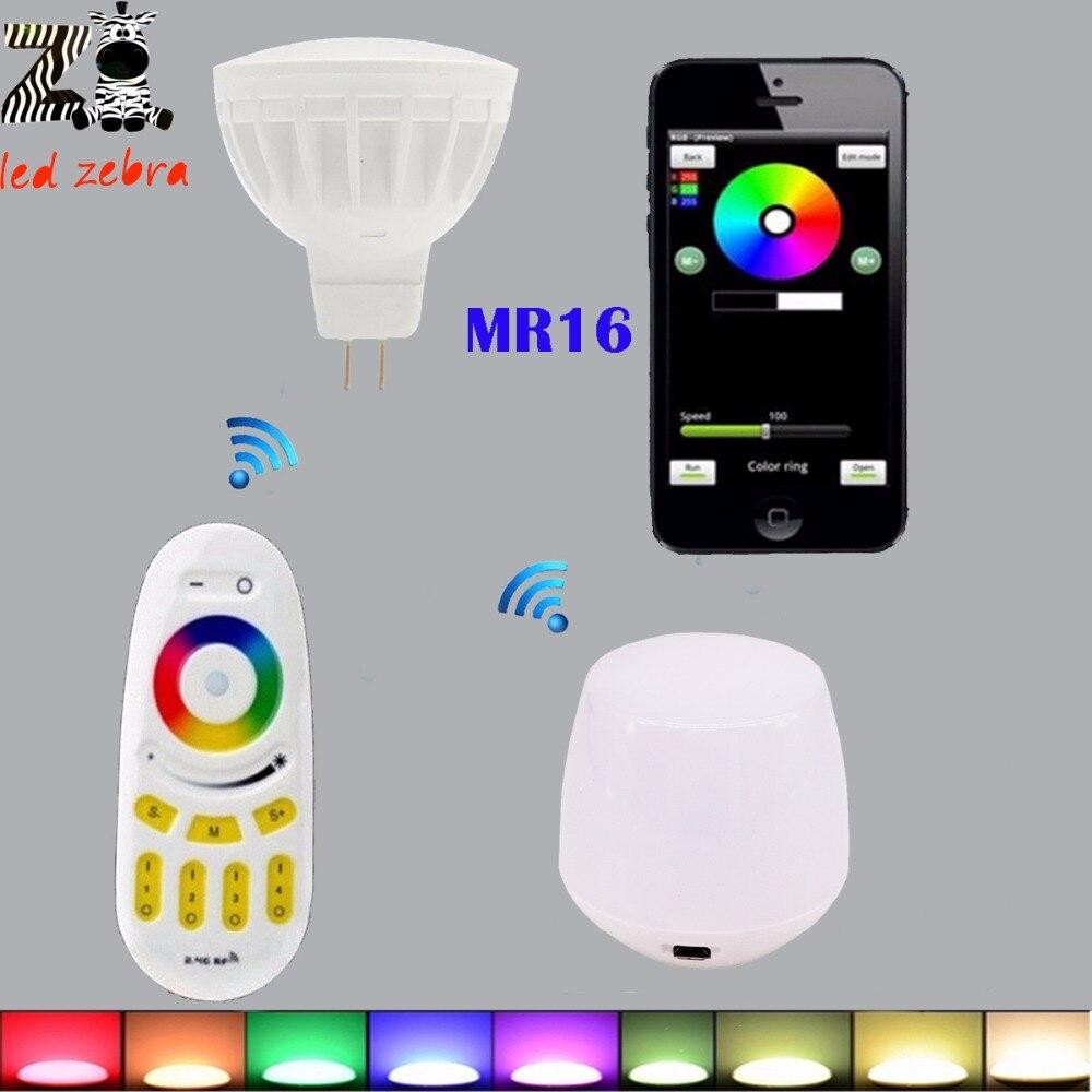 цена на mi.light 2.4g remote controller and wifi controller for MR16 rgbww led bulb rf professional smart led spotlight AC/DC12V