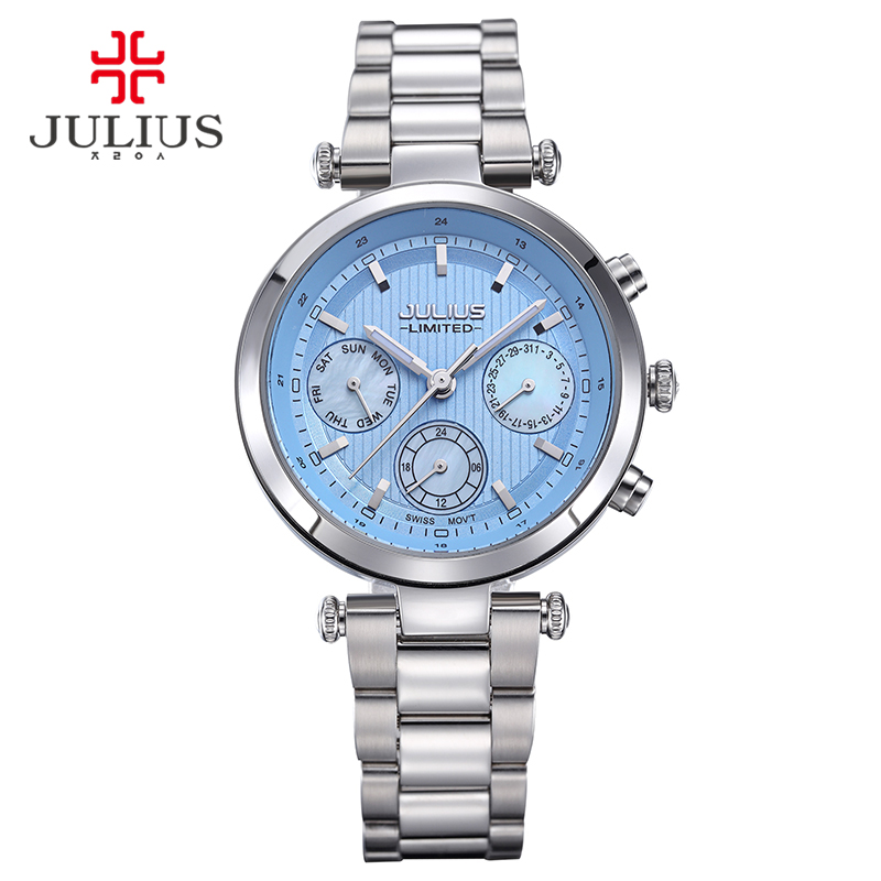 2017 Julius Watch Women Stainless Steel Chronograph 3 Dials Limited Edition Silver Quartz High Quality Top Brand Whatch JAL-029 недорго, оригинальная цена