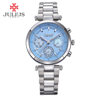 2017 Julius Watch Women Stainless Steel Chronograph 3 Dials Limited Edition Silver Quartz High Quality Top Brand Whatch JAL 029