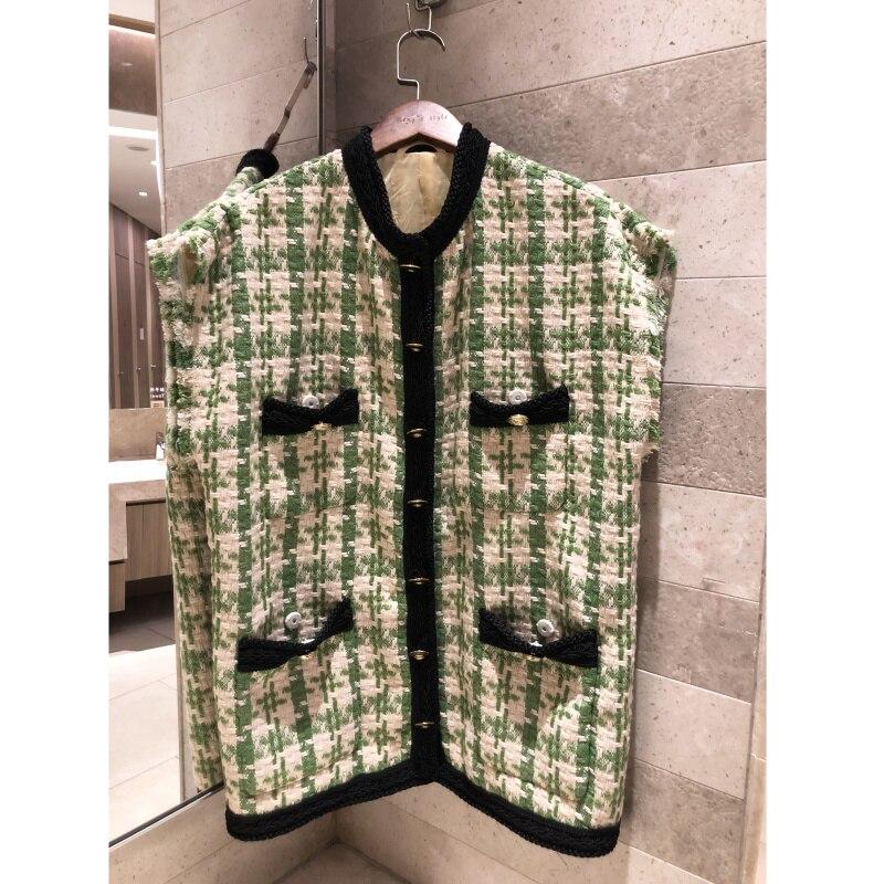 Women s vest fashion vest vest 2019 retro vest Tweed weaving sleeveless ladies pocket jacket