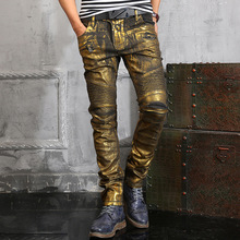 2015 New Luxury Fashion Men Exclusive High-end Gold Coating Skinny Jeans for Men Military Pantalones Hombre