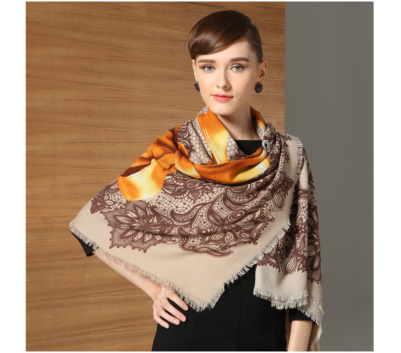 Mode 100% Twill laine écharpe châle Floral Ex-grand carré 51 pouces