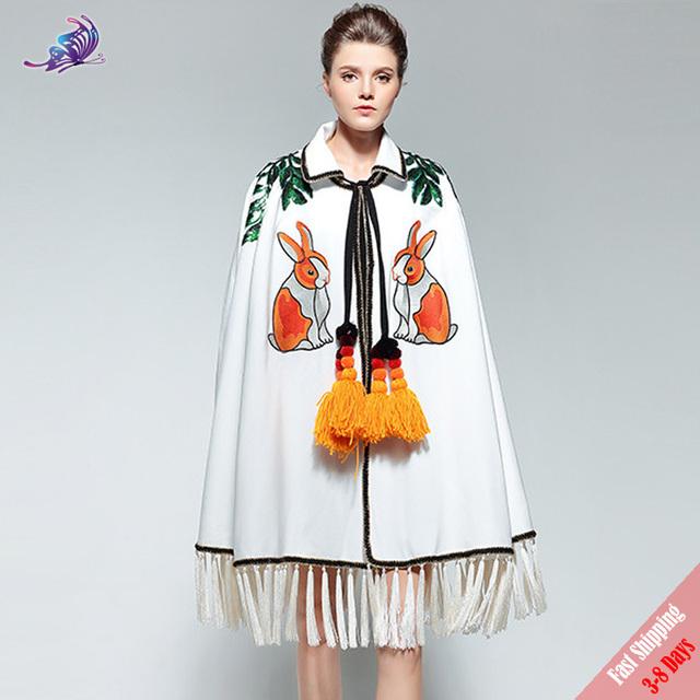 White Rabbit Embroidery Overcoat