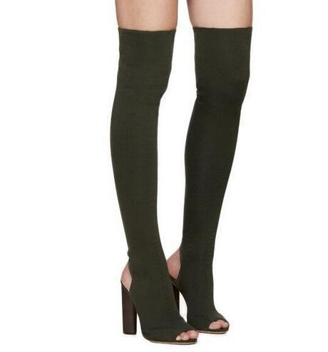 Moraima Snc brand summer thigh high boots women peep toe thick heel black beige high heels Elastic boots for woman sexy shoes все цены