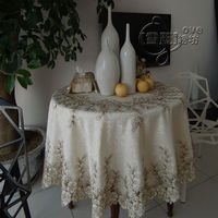 Elegant rustic fashion embroidery fabric dining table cloth tablecloth round table cloth cutout cover towel