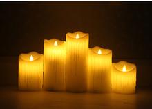 Prawdziwe woski led świeca świeczka bez ognia akumulator lampy obsługiwane z zegarem niesamowite życia takich jak migotanie płomienia prawdziwy wosk tanie tanio Bezpłomieniowe Świeca lampy Filar Świeczka led Home decoration Parafina 8*10 2cm 8*15 2cm 8*20 3cm