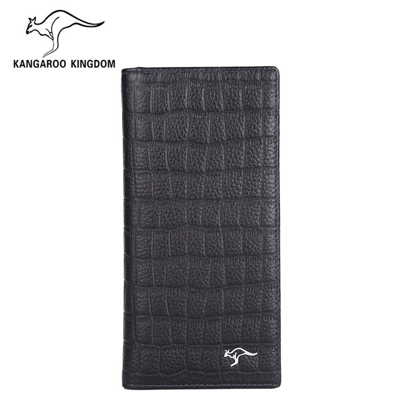 Kangaroo Kingdom Luxury Men Wallets Long Genuine Leather Wallet Business Famous Brand Male Purse brand double zipper genuine leather men wallets with phone bag vintage long clutch male purses large capacity new men s wallets