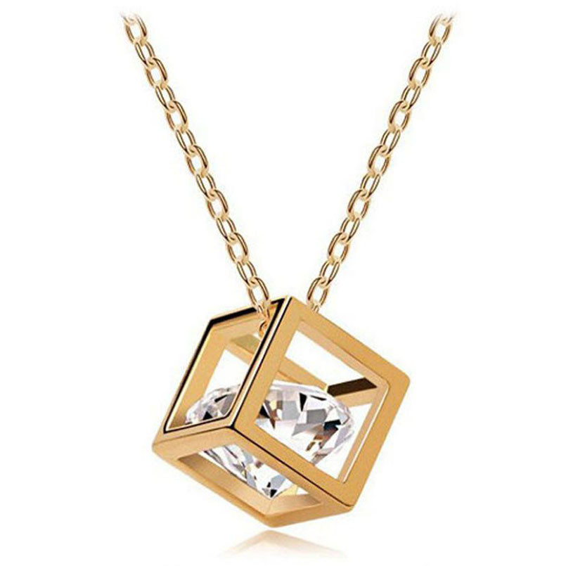 geekoplanet.com - Crystal Rhinestone Square Pendant Necklace