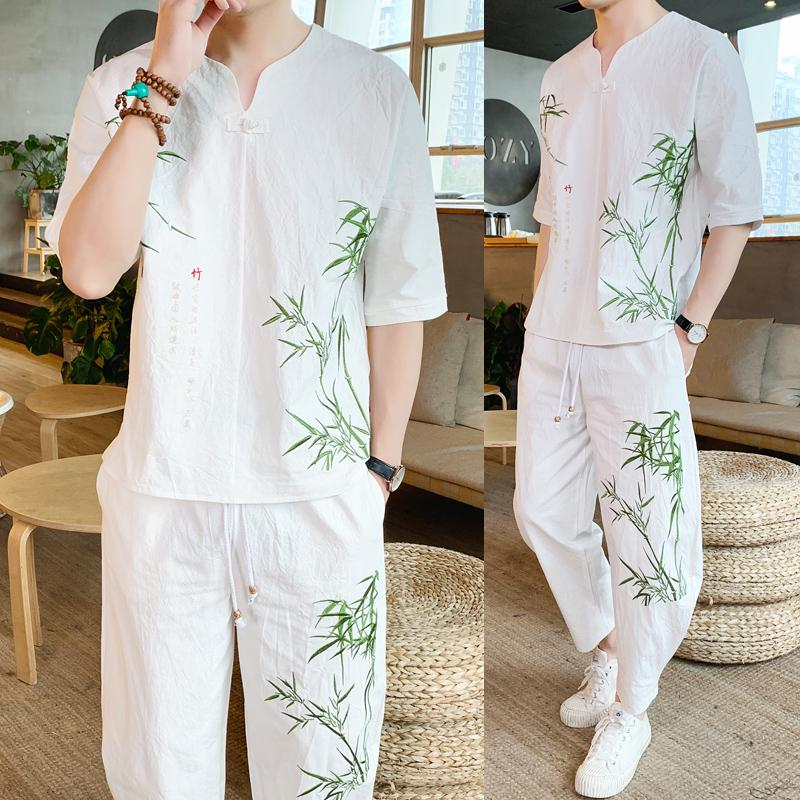 Loldeal Chinese Plum Embroidery Linen Track Suit Men's Large Size Loose Trousers Short-sleeved T-shirt Nine Pants Summer Suit