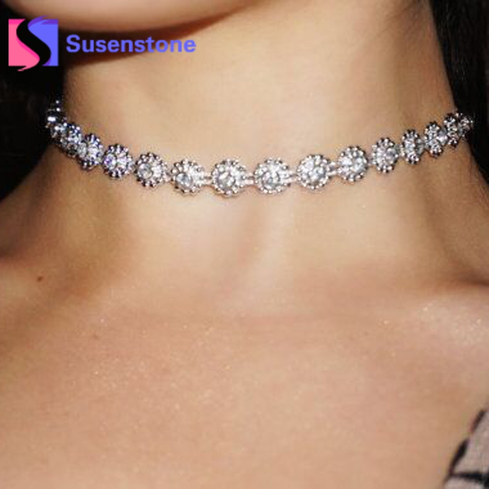 2018 New Hot Women Wedding Party Prom Jewelry Rhinestone Crystal Choker Necklaces Silver Plated Chain Jewelry Wholesale Gifts