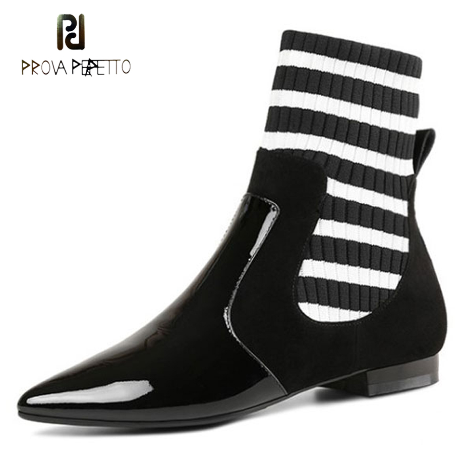 Prova Perfetto fashion black mix white stripe knit sock boots pointed toe low heel genuine leather patchwork short boots females inov 8 носки speed sock low l white