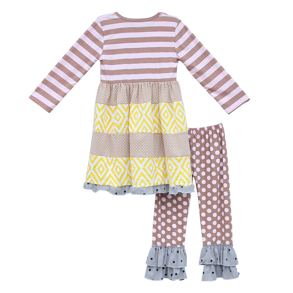 Boutique Fashion Children Full Sleeve Suits Knitted Cotton Long Top